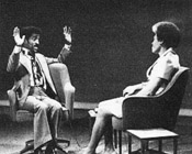 Jerri Lange interviewing Sammy Davis, Jr.